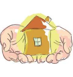 Drawn hands holding house vector