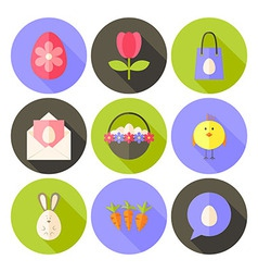 Easter flat styled circle icon set 2 with long vector image