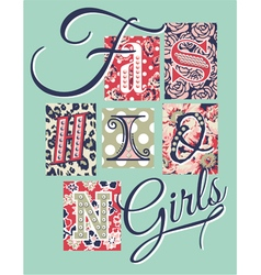 Fashion girls patchwork vector