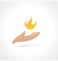 fire in hand vector image vector image
