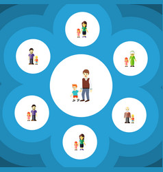 Flat icon relatives set of mother daugther boys vector