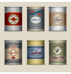 Food cans set vector