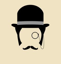 Gentleman wearing bowler hat vector