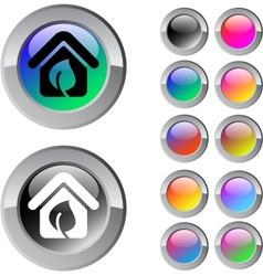 Green home multicolor round button vector image vector image
