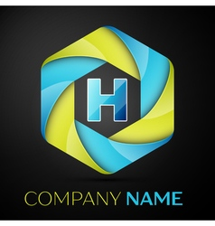 H letter colorful logo in the hexagonal on black vector