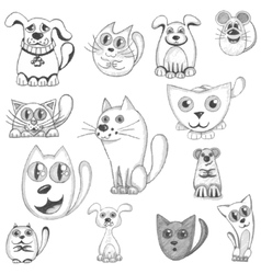 Hand drawn cats dogs and mouse set vector image vector image