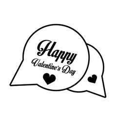 Happy valentines day card bubble hearts outline vector