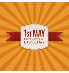 May 1st labor day banner with red ribbon vector