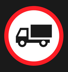 No truck prohibited sign flat icon vector