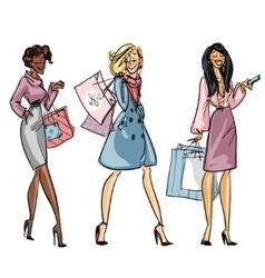 Pretty fashionable women vector image vector image