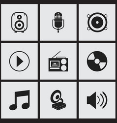 Set of 9 editable mp3 icons includes symbols such vector