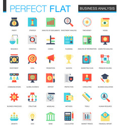 Set of flat business analytics icons vector