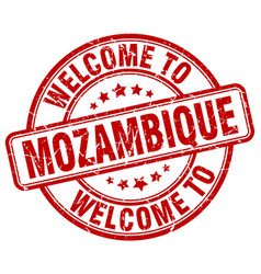 Welcome to mozambique red round vintage stamp vector
