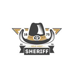 wild west sheriff vintage label vector image vector image