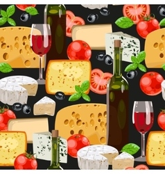 Wine and cheese seamless vector image