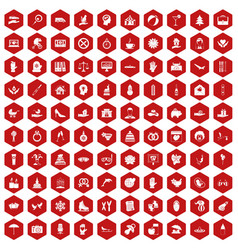 100 joy icons hexagon red vector