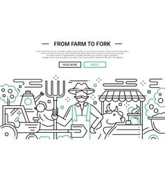 From farm to fork - line design website banner vector