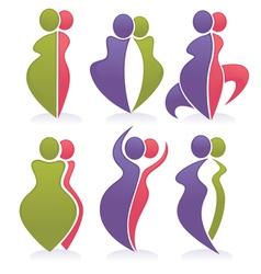 fat and slim diet symbols vector image