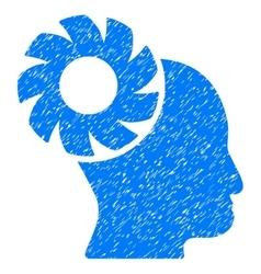 Brain wheel grainy texture icon vector