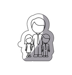 contour man with his children icon vector image