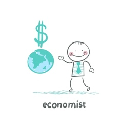 Economist is close to the planet and the dollar vector