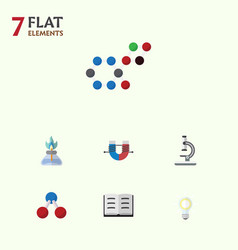 Flat icon science set of attractive force vector