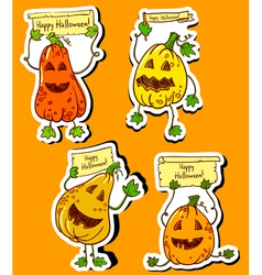 Pumpkins stickers vector