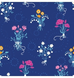 Fresh flower bouquets seamless pattern background vector