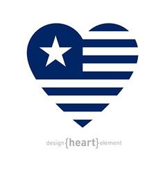 Heart with stripes and star vector
