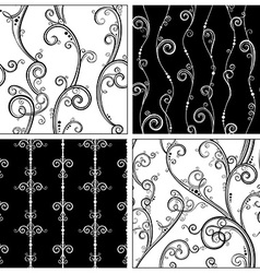 Set of seamless vintage patterns vector image