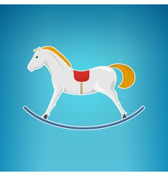 Colorful rocking horse merry christmas vector