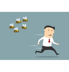 Businessman running away from angry bees vector image