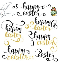 Lettering calligraphy set happy easter vector