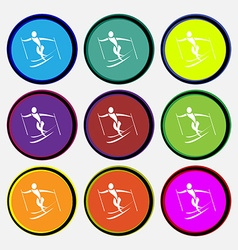 Skier icon sign nine multi colored round buttons vector
