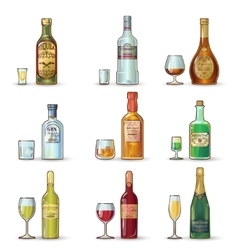 Alcohol bottles decorative icons set vector