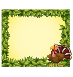 A green border with a turkey vector image