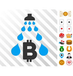 Bitcoin laundering shower icon with bonus vector