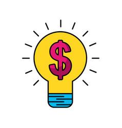 Bulb light with money symbol vector
