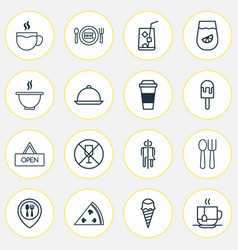 Cafe icons set collection of hot drink pepperoni vector
