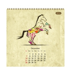 Calendar 2014 december Art horses for your design vector image vector image
