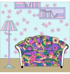 Cartoon funny interior with couch painted colorful vector image