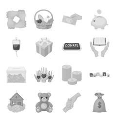 Charity and donation set icons in monochrome style vector