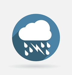 Cloud rain lightning circle blue icon with shadow vector