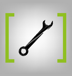 Crossed wrenches sign black scribble icon vector