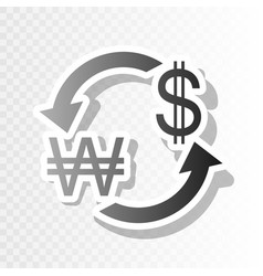 Currency exchange sign south korea won and us vector