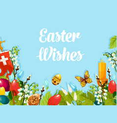 Easter egg flower cross candle cartoon poster vector