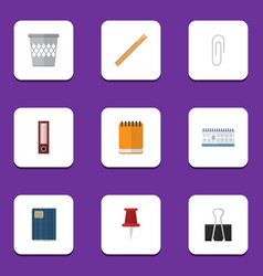 Flat icon equipment set of notepaper dossier vector