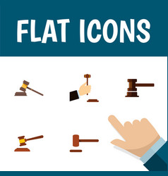 Flat icon lawyer set of law defense hammer and vector