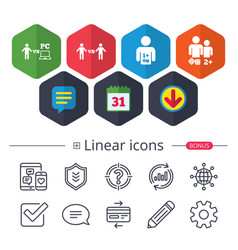 Gamer icons board and pc games players vector