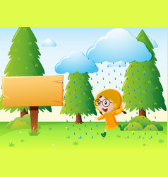 Girl in raincoat running in the rain vector